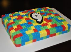 lego cakes | This cake is a Quarter Sheet Cake (approx. 9 x 13), covered in fondant ...