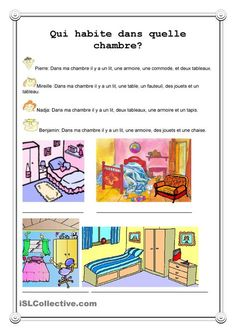 Qui habite dans quelle chambre? Learning French For Kids, Teaching French, Basic French Words, French Worksheets, French For Beginners, French Verbs, French Education, Core French, French Classroom