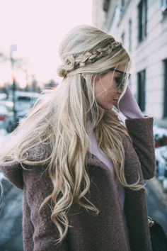 half-up + braid + blonde