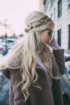 half-up + braid + blonde