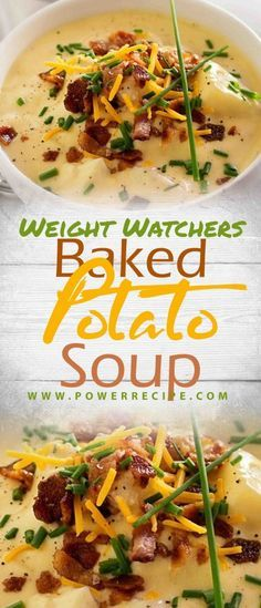 This Loaded Baked Potato Soup is a warm and comforting soup that is quickly made in less than 30 minutes! Watch this short video to see how . Weight Watcher Dinners, Plats Weight Watchers, Weight Watchers Soup, Weight Watchers Chicken, Weight Watcher Crockpot Recipes, Ww Recipes, Slow Cooker Recipes, Cooking Recipes, Healthy Recipes