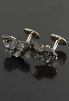 Sikhote-Alin Meteorite Cufflinks in Sterling Silver