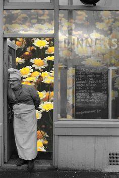 Brick Lane cafe owner. East London England. 1974