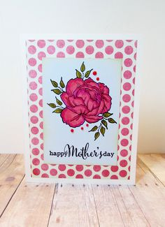 Mother's Day Card, Handmade Card, Stamped Card, Greeting Card, Polka Dots, Floral Card, Card for Mom by MainImageCards on Etsy