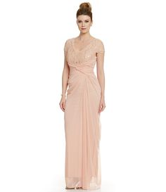 Adrianna Papell Sequin Lace Mesh Gown   Dillards