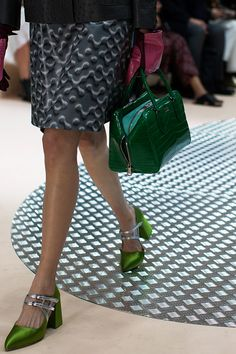 Unbelievably beautiful Prada shoes and bag Winter 2015 show.