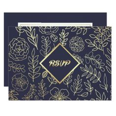 Navy Blue | Gold Floral Pattern Wedding RSVP Cards  $1.86  by YourWeddingDay  - cyo diy customize personalize unique