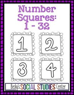 Number Squares for Classroom Organization - Ink Saver - Use this FREE download to help with a variety of things in the classroom! You can determine groups, assign jobs, label cubbies and lockers, organize the classroom, use with the calendar, and much more! The black and white format allows you to save ink, yet print on ANY color to coordinate with your decor! Cards 1-32 included in this freebie. {Kindergarten, 1st, 2nd, 3rd, 4th, 5th, 6th, 7th, 8th, 9th grade classroom and homeschool}