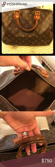💯 AUTH, Vintage LV 35 100% authentic LV Vintage 35. This bag is a very old, but in great condition for its age. A lot of patina and darkening of the handles....inside very clean, no holes, no rips. Great USED, VINTAGE LV. Wear on key holder tab and on all tabs- this bag still looks good while carrying it though! I put scarfs on the handles too. Cute!!! 🌷🌷💕💕💕Reasonable offers welcome the offer button only please. Louis Vuitton Bags
