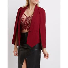 Charlotte Russe Structured Cape Blazer ($35) ❤ liked on Polyvore featuring outerwear, jackets, blazers, burgundy, cape coat, cape blazer, burgundy jacket, charlotte russe blazer and lapel jacket
