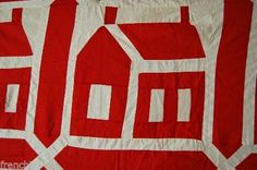OUTSTANDING-Vintage-1880-039-s-Turkey-Red-amp-White-School-House-Antique-Quilt-Top