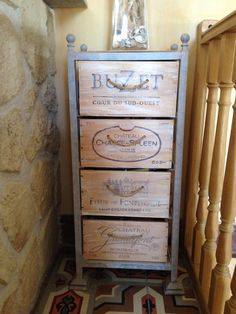 Vertical Wine Crate Chest of Drawers