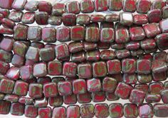 8mm Opaque Vintage Brick Picasso Czech Glass by beadsandbabble
