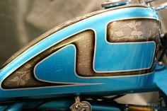 Light Blue Flake with Lace Painted Motorcycle Tank Custom Motorcycle Paint Jobs, Custom Paint Jobs, Custom Motorcycles, Custom Bikes, Motorcycle Events, Motorcycle Tank, Moto Bike, Motorcycle Helmets, Pinstriping