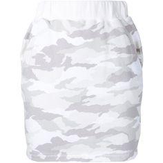 Loveless camouflage mini skirt ($89) ❤ liked on Polyvore featuring skirts, mini skirts, white, camouflage mini skirt, camo skirt, camo print skirt, white short skirt and white cotton mini skirt