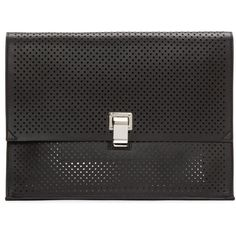 Proenza Schouler Black Perforated Large Lunchbag Clutch ($585) ❤ liked on Polyvore featuring bags, handbags, clutches, black, perforated leather purse, structured purse, structured handbags, leather clutches and genuine leather purse