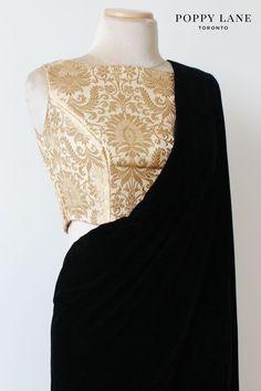 Royal Brocade Ivory Sari/Lengha Crop Top Blouse. Shop now at poppylane.ca