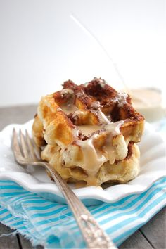 Homemade quick cinnamon roll waffles with maple glaze