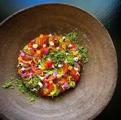 Beautifully presented tomato salad - a treat to your tastebuds and your eyes!