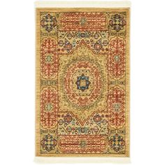 This Rug is machine made of polypropylene. Contain colors: beige, light blue, light brown, light green, navy blue, red.