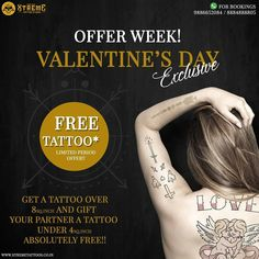 *Free Tattoo! Happy Valentines Week* . This Valentine's Day; Gift Your Loved One A Tattoo Under 4 Sq.Inch When You Get Yourself A Tattoo Above 8 Sq.Inch❤️ . . We strictly follow every Covid-19 guidelines and solely believe in our client safety and satisfaction For bookings please contact : 9886652084 / 8884888805 For more information check us out at www.xtremetattoos.co.in Painless Tattoo, Organic Tattoo, Piercing Studio, Professional Tattoo, Top Tattoos, Tattoo Parlors, Get A Tattoo, Tattoo Studio, Tattoo Artists