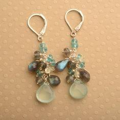 Aqua Blue Chalcedony Earrings Healing Gemstone Jewelry by izuly