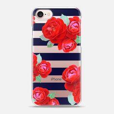 Vintage Roses n.5 on blue stripes - Snap Case