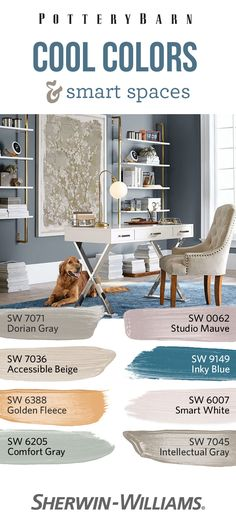 Create an office space that's whip smart and super chic, with cool colors like Inky Blue SW 9149, Smart White SW 6007 and Comfort Gray SW 6205. Add some visual interest with accents done in eye-catching Golden Fleece SW 6388 or subtle Studio Mauve SW 0062. Whether you're creating a sleek home office or a cozy reading nook, this palette is perfect for putting together a smart space.