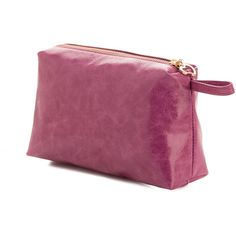 Sara-Unlined Leather Pouch-Raspberry Sorbet (230 RON) ❤ liked on Polyvore featuring bags, handbags, purple handbag, genuine leather purse, leather man bag, purple purse and zipper pouch