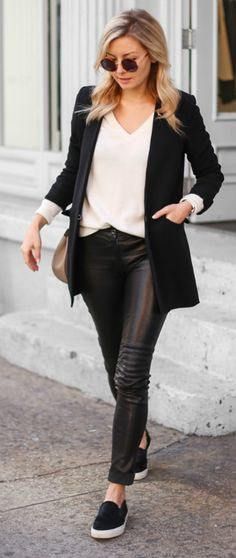 Laurie Ferraro + androgynous look + jet black blazer + striking leather leggings + plain white tee + jumper + perfect contrasting colour scheme.   Leggings: ElleSD, Blazer: LXE, Knit: Halogen Cashmere, Sneakers: Axel Ariagato.