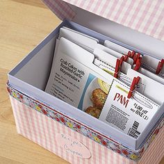 Pair recipes you want to try with coupons that help defray the cost of the ingredients, and clip them together in an old recipe box.