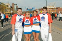 Some of our cheerleaders showing Boise State pride during the 2012 Beat Coach Pete scholarship run/walk. Go Broncos!