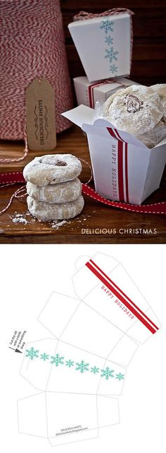 Christmas Cookie Box - Free PDF Printable Template to make these boxes yourself.