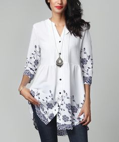 White Floral Chiffon Button-Down Pin-Tuck Tunic