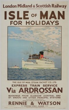 Isle Of Man For Holidays LMS Norman Wilkinson 1939 - original vintage poster listed on AntikBar.co.uk