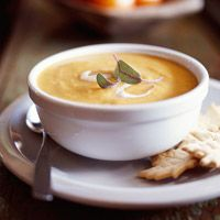 Holiday Pumpkin Soup 2 tablespoons finely chopped onion 1/2 teaspoon curry powder 1/4 teaspoon ground cumin 1/4 teaspoon ground coriander 1/4 teaspoon salt 1 tablespoon butter or margarine 2 15 ounce cans pumpkin 2 14 ounce cans chicken broth 1 tablespoon packed brown sugar or maple syrup (optional) 1 cup half and half, light cream or milk Dairy sour cream (optional) Fresh sage leaves (optional)