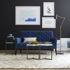 This is actually on sale for under $500 at West Elm! Nice. Elton Settee - Ink Blue (Performance Velvet)