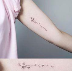 """""""I'm # # comments: # 19 # – # (Nando) # on # """"Happiness tattoo tattooist flowertattoo nandotattoo # – Top 500 Best Tattoo Ideas And Designs For Men and Women Word Tattoos, Mini Tattoos, New Tattoos, Small Tattoos, Dainty Flower Tattoos, Delicate Tattoo, Petit Tattoo, Writing Tattoos, Tatoo Henna"""
