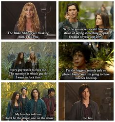 The 100 & Big Brother crossover (part1) by no-one-and-everyone (Tumblr) || Clarke Griffin (Eliza Taylor), Bellamy Blake (Bob Morley), Octavia Blake (Marie Avgeropoulos), Finn Collins (Thomas McDonell)