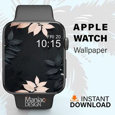 Apple Watch Wallpaper Dark Floral Wallpaper Apple Watch Face | Etsy