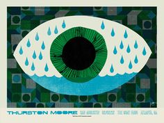 Thurston Moore concert poster by Methane Studios - Methane Studios - Gallery Photo Illustration, Graphic Design Illustration, Graphic Art, Band Posters, Music Posters, Eye Art, Estilo Retro, Print Artist, Concert Posters