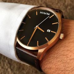 Men's style with our Rose Gold x Brown Leather Watch. www.mvmtwatches.com