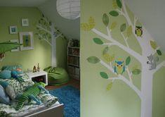 wandfarben ideen kinderzimmer dachschräge junge pastellgrün deko bäume