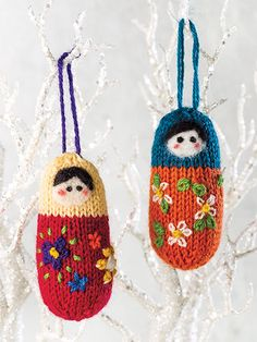 Knitted ornament from Deck the Halls: Knitted Christmas Ornaments pattern bo. - Knitted ornament from Deck the Halls: Knitted Christmas Ornaments pattern book from Annie's Craft Store. Knitted Christmas Decorations, Knit Christmas Ornaments, Christmas Knitting, Christmas Crafts, Christmas Elf, Knitting Projects, Crochet Projects, Knitting Patterns, Crochet Pattern