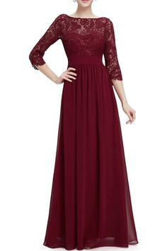 Burgundy Three Quarter Sleeve Crochet Bodice Maxi Evening Dress