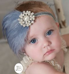 Baby Headband Grey Feather baby HeadbandBaby by ThinkPinkBows Pearl Headband, Diy Headband, Newborn Headbands, Baby Girl Headbands, Baby Bows, Feather Headband, Shabby Chic Headbands, Floral Headbands, Baby Couture