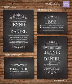 Wedding Invitation printables chalkboard by DallinsPaperie on Etsy