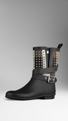 Stud Detail Belted Rain Boots | Burberry