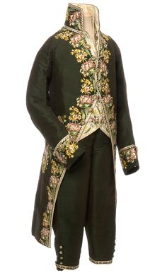 Habit à la française, frock coat, waistcoat and breeches, France, 1804-15 Figured silk velvet, straight stitch embroidery