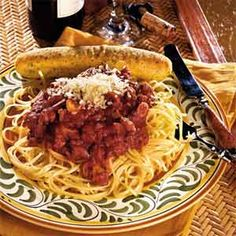 Sicilian Spaghetti Sauce | MyRecipes.com - Our spaghetti sauce recipe receives 5-star reviews for its slow-simmering authentic flavor. Pair it with your favorite pasta and warm breadsticks on the side.